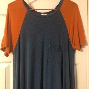 LuLaRoe Large Blue with  Orange Sleeves Carly